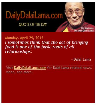 HHDalaiLama quote...bringing food...generosity