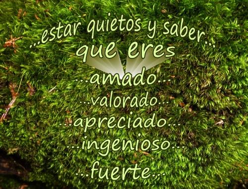 spanish estar quietos y saber que eres amado valorado apreciado