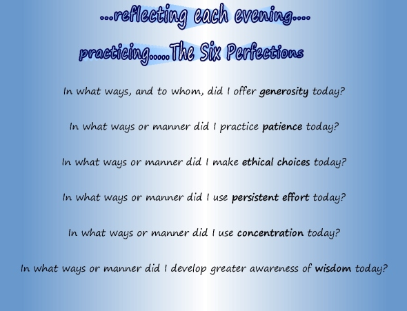 reflecting on practice of Six Perfections toda