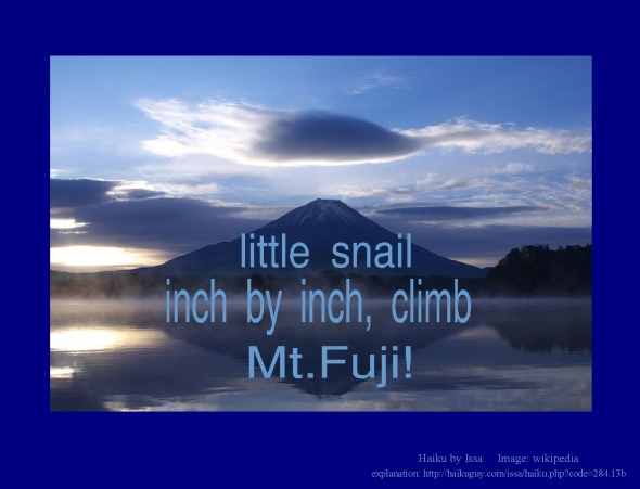 little snail inch by inch climb haiku