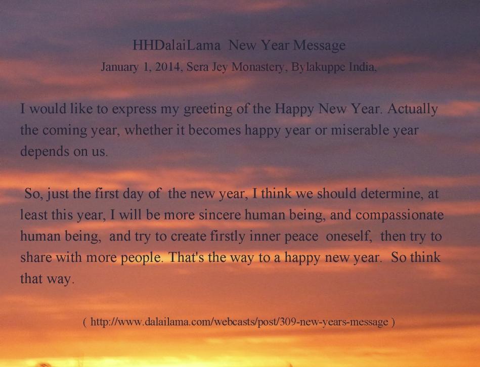 DalaiLama New Year Wish 2014 | Reflections